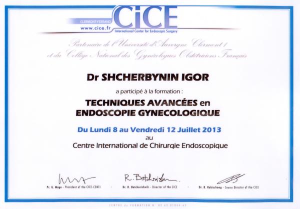Сертификат прохождения курсов по передовым технологиям гинекологической эндоскопии, Клермон-Ферран, Франция, 2013