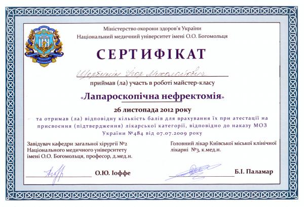 Сертификат мастер-класса по Лапароскопической нефрэктомии, 2012