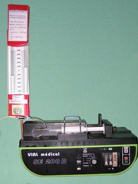 Дозатор-иньектор для прямой лимфоиммунной терапии с U-образным манометром по Н. Шматкову